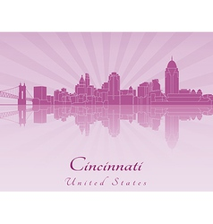 Cincinnati skyline in purple radiant orchid vector image