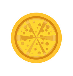 Classic thin crust pizza with slices of delicious vector