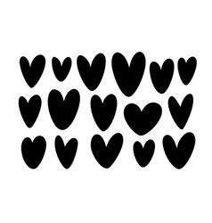 collection hearts silhouettes love symbols vector image