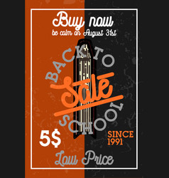 color vintage back to school sale banner vector image