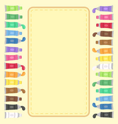Colorful paint tubes set notes frame vector