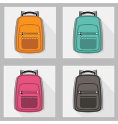 colorful school bags and back packs set pattern vector image