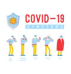 Coronavirus symptoms concept dry cough shortness vector