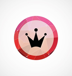 Crown circle pink triangle background icon vector
