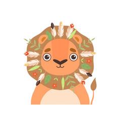 cute animal wearing traditional tribal headdress vector image