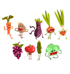 cute cartoon fruit and vegetables set eco food vector image