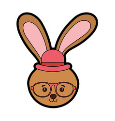 Cute vintage rabbit face vector