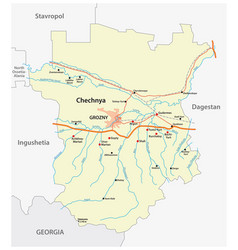 detailed road map chechen republic russia vector image