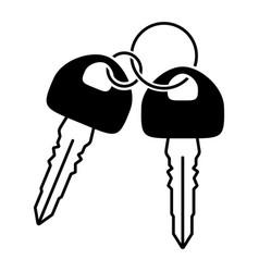 Double car key vehicle or automobile key flat vector