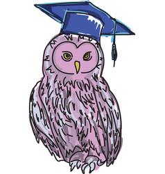 Drawn violet owl vector