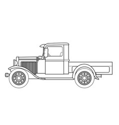 Early pickup truck outline vector