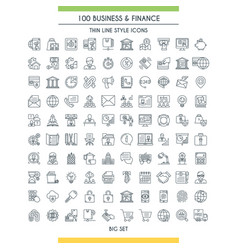 finance big line icons set vector image