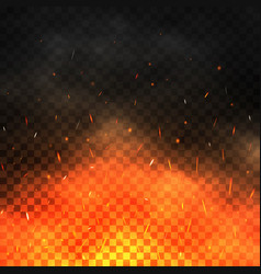 fire sparks flying up realistic fire and smoke vector image