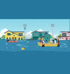 Flood disaster vector