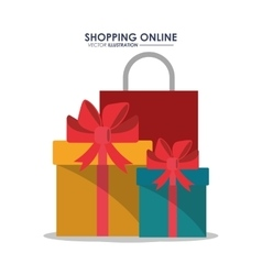 Gif bag and shopping online design vector