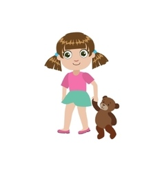 Girl Walking With Teddy Bear vector