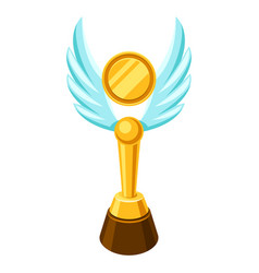 Gold prize icon with wings vector