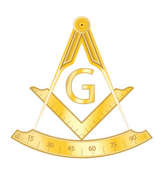 golden masonic square and compass symbol vector image