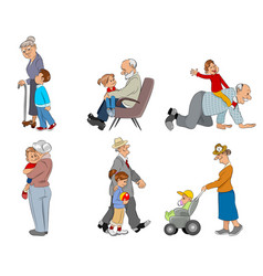 grandparents and grandsons vector image