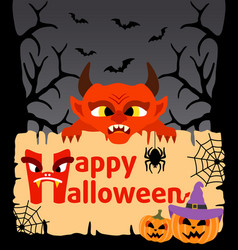 Halloween background card with devil vector