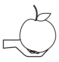 Hand holding apple icon outline style vector