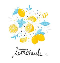 homemade lemonade hand drawn typography summer vector image