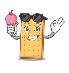 Ice cream cool graham cookies character cartoon vector