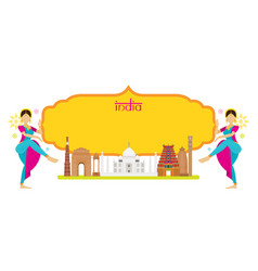 India landmarks with traditional dancer frame vector