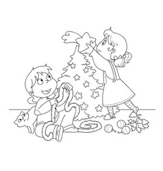 kids decorating a christmas tree coloring vector image
