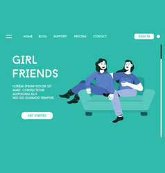 landing page girl friends concept vector image