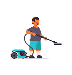 Little arab boy using vacuum cleaner cleaning vector