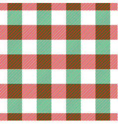 Lumberjack plaid pattern in red white and green vector