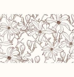 Magnolia flower brown sepia outline pattern vector
