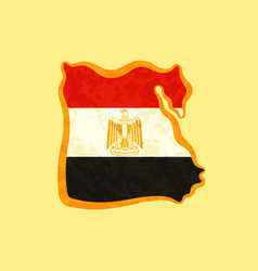 Map of egypt colored with egyptian flag and vector