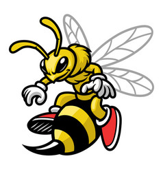 mascot bee cartoon style vector image