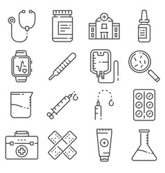 medical line icons set on white background vector image
