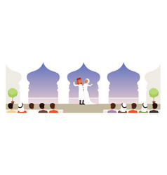 Muslim wedding ceremony bride and groom in vector