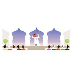 Muslim wedding ceremony bride and groom vector