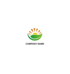 nature organic leaf sun company logo vector image