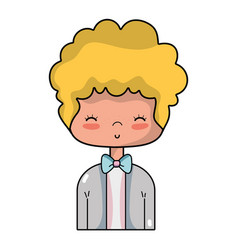 Nice boy with elegant suit and hairstyle design vector