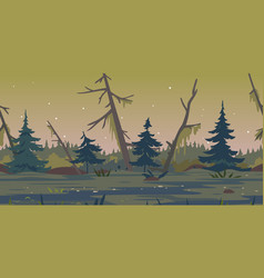 night swamp game background vector image