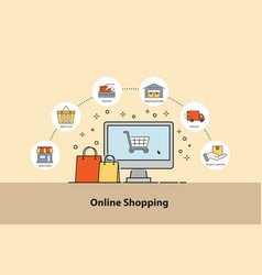 online shopping concept infographic design vector image