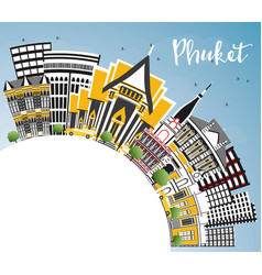 phuket thailand city skyline with color buildings vector image