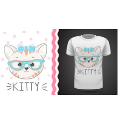 pretty kittty idea for print t-shirt vector image