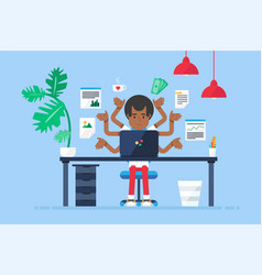 professional workplace with afro-american vector image