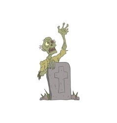 Raising From The Grave Creepy Zombie Outlined vector