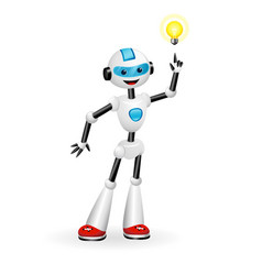 Robot pointing at light bulb aha moment concept vector