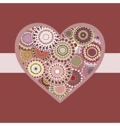 Romantic bright colorful heart pink ribbon vector
