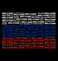 Russia flag collage of welcome texts vector
