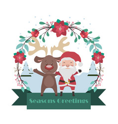 Santa and reindeer banner with floral frame vector
